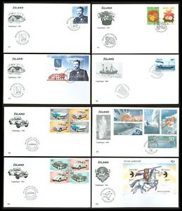 Below face J97 ICELAND 2004 8 FDC Military Uniform Flowers Ship old Cars