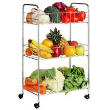 3 Tier Fruit Vegetable Storage Cart Trolley Rack Holder Stand With Wheels