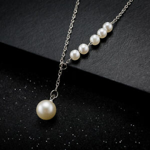 Chic Silver Plated White Pearl  Woman Chain Wedding Necklace N-A551 Gift