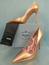 PRADA 1I939F METALLIC ROSE COLD LEATHER POINTED TOE FLORAL CLASSIC PUMPS 41.5