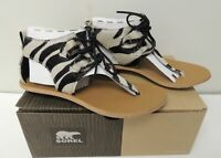 NEW, Sorel Womens Zebra Print Leather Sandals Summer Boot Black/White