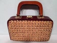Vintage 60s Blonde Wicker Brown Wood Trim Handbag Purse HONG KONG Bag