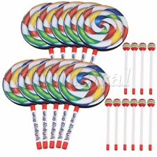 10pcs Lollipop Drum Education Toys for Kid and Baby with Mallet 7.9 Inch