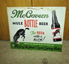 1930's McGOVERN mule beer hanging wall sign OLD APPELTON, MISSOURI