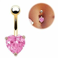 Gold Plated Pink Heart CZ Rhinestone Gem 14G Belly Navel Ring Body Jewelry