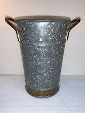 Galvanized And Brass Flower Vase Bucket With Handles Made In Turkey