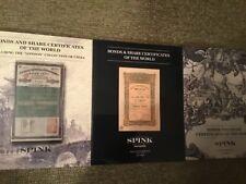 THREE WORLD SCRIPOPHILY AUCTION CATALOGS - SPINK 2013