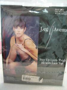 NEW LEG AVENUE Black Thigh High Stockings - Size M - Style 1022 90-165 LBS