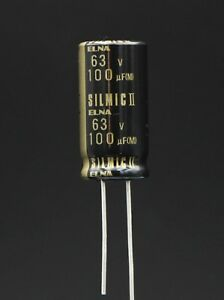 2 pcs / 1 lot - Genuine ELNA SILMIC II Capacitors for Audio - 100uF / 63VDC
