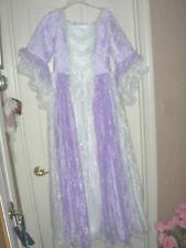 Fancy White Purple Lace 4 6 Small NEW Women's Short Sleeve Victorian Dress Gown