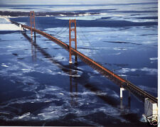 The New Mackinac Bridge Color Aerial Photograph 1957 Over Ice Michigan MUST SEE