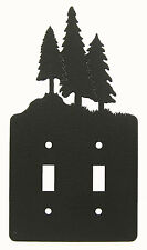 Tree Trees Double Switch Cover Plate Black