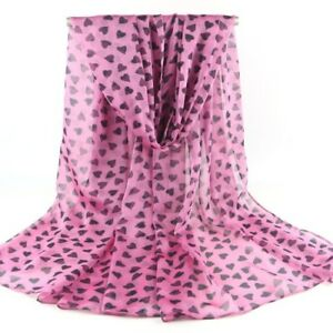 Hot Pink Scattered Hearts Print Women Face Cover Wrap Silk Chiffon Scarf