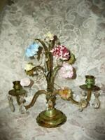 FRENCH BRONZE ORMOLU CANDELABRA LAMP BASE TOLE PORCELAIN FLOWERS ANTIQUE RARE