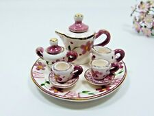 Hand Painted Dollhouse Ceramic Coffee Set Bordeaux - Green - 10 Pieces (1:12)