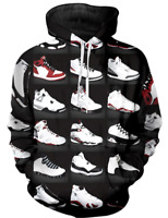 Michael Jordan 3D Hoodies New Style Shoes Black Fashion Men Women Size S - 6XL