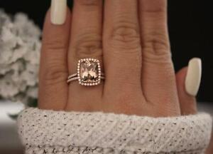 3.5Ct Cushion Cut Morganite Halo Engagement Bridal Set Ring14K Rose Gold Finish