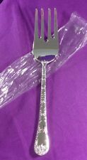 WM ROGERS & SON ENCHANTED ROSE NEW  MEAT FORK  SILVER PLATE
