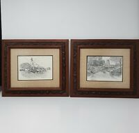 Richard Hashagen Pair Original Pen And Ink Drawing Of Early Americana Farm Scene