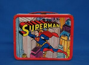 1967 Superman Cartoon Metal THERMOS Lunchbox