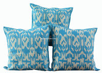 "SET OF 3 TURQUOISE HANDMADE 16X16"" KANTHA WORK CUSHION COVER ETHNIC DECOR ART 8C"
