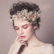 Wedding Headpieces Flower Wreath, Pearls Headband Tiara, Crystal Hair Accessory