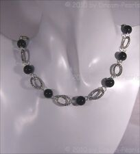 ♥ Dream-Pearls Design collar Onyx tíbet plata oval negro plata ♥ hk048