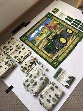VTG John Deere Kids Room Set Curtains / Vinyl Border / Sheet Set / Wall Hanger