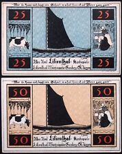 """LILIENTHAL 1921 """"Sailboats, Farming, Cows"""" series C complete set Notgeld Germany"""