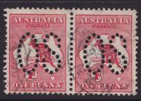 "AUSTRALIA KANGAROO 1913 1d Red 1st Wmk LARGE ""OS"" PAIR USED  SG O2 (KA68.4)"
