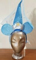 Disney Parks Cinderella Velvety Blue Mouse Ears Hat Veil Crown Youth to Adult