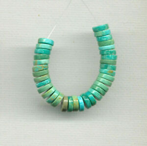 """MEXICAN TURQUOISE 6MM BUTTON HEISHI RONDELLE BEADS - 2.5"""" Strand - 1242"""
