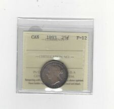 **1893** ICCS Graded Canadian, 25 Cent, **F-12**