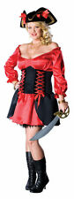 Buccaneer Pirate Wench Red Black Womens Sexy Dress Halloween Plus Size Costume