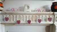 New Bunting Vintage Chic Red Love Hearts Decorative Hanging Hearts Garland