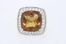 Sterling Silver 10ct Cushion Orange/Brown Citrine & .75ct White Topaz Halo Ring