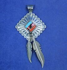 Southwest Sterling Silver Inlaid Stone Pendant Double Feathers Signed Q.T.