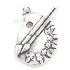 PAINT PALETTE Charm Brushes ARTIST Art Pendant 3D 925 .925 Sterling Silver
