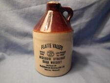 VINTAGE-Platte Valley Missouri Straight Corn Whiskey Bottle/Jug/Crock- Excellent