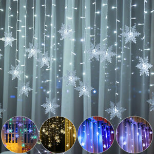 LED Snowflake Fairy String Lights Curtain Window Christmas Party 8 Mode Home DIY