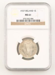1937 Ireland Republic 1 Shilling Silver Coin MS-61 NGC Low Mintage Key Date KM-6