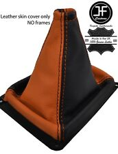Negro y Naranja cuero de grano superior MANUAL GEAR GAITER encaja Kia Sorento MK1 02-09