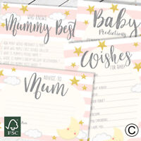 BABY SHOWER GAMES- Pink Baby Girl Favours Predictions Card Who Knows Mummy Best