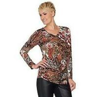 Liquid Knit Top with Side Zipper by Susan Graver, Size 2XL