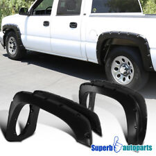 For 99-07 Silverado 4PC Smooth Pocket Rivet Style Fender Flares Wheel Covers