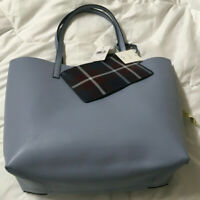 NWT Kate Spade Mya Reversible Leather Tote + Pouch Cloudcover / Plaid WKRU5545