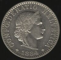 1884 Switzerland 20 Rappen Coin | European Coins | Pennies2Pounds