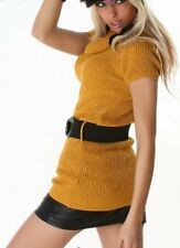 Sexy Femmes Long Pull Col Roulé Pull Tricot Ceinture Ocre Argent 32/34/36
