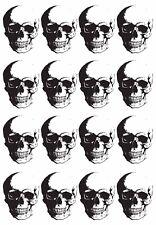 """Fierce Human Skull  5"""" X 3.5"""" Card Black Fused Glass Decals 17CC878"""