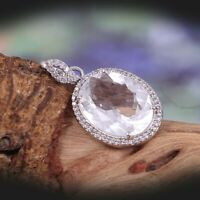 Natural Rock Crystal Pendant 925 Sterling Silver Clear Quartz Vintage Tribal